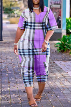 Purple Fashion Casual Print Basic V Neck Loose Jumpsuits