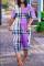 Khaki Fashion Casual Print Basic V Neck Loose Jumpsuits