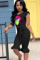 Black Sexy Fashion Print Solid Ruffled Sleeveless O Neck Jumpsuits