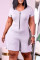 Grey Fashion Casual Solid Zipper O Neck Plus Size Jumpsuits