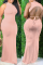 Pink Casual Solid Backless Half A Turtleneck Straight Dresses
