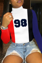 Red Blue Casual Print Turtleneck Mid Waist Tops