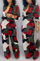 Red Fashion Casual Camouflage Print Basic V Neck Regular Jumpsuits