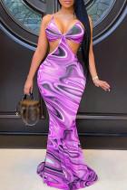 Purple Fashion Sexy Print Backless V Neck Sling Dress