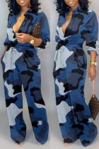 Blue Fashion Casual Camouflage Print Basic V Neck Regular Jumpsuits