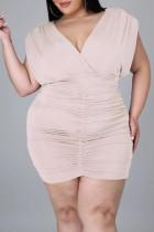 Pink Purple Fashion Casual Plus Size Solid Fold V Neck Sleeveless Dress