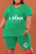Green Fashion Casual Letter Print Basic V Neck Plus Size Two Pieces