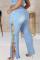 Light Blue Fashion Casual Solid Frenulum Slit Plus Size Jeans