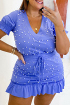 Blue Sweet Solid Split Joint Flounce Beading V Neck A Line Plus Size Two Pieces