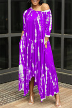 Purple Fashion Print Basic O Neck Irregular Dress