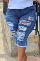 The cowboy blue Fashion Casual Solid Ripped Plus Size Jeans