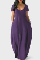 Purple Casual Solid Split Joint Pocket V Neck Short Sleeve Dress Dresses