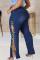 Deep Blue Fashion Casual Solid Frenulum Slit Plus Size Jeans