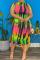 Green Sexy Print Split Joint Half A Turtleneck Pencil Skirt Dresses