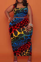 Colour Sexy Casual Print Vests Square Collar Plus Size Two Pieces