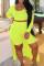 Yellow Fashion Casual Solid Basic O Neck Plus Size Three-piece Set