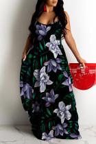 Purple Sweet Print Split Joint Spaghetti Strap Sling Dress Dresses
