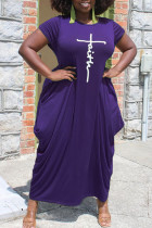 Purple Casual Print Split Joint Asymmetrical O Neck Short Sleeve Dress Plus Size Dresses