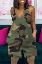 Green Casual Camouflage Print Split Joint Spaghetti Strap Loose Jumpsuits