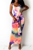 Purple Fashion Casual Print Tie Dye Basic U Neck Vest Dress