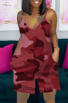 Burgundy Casual Camouflage Print Split Joint Spaghetti Strap Loose Jumpsuits