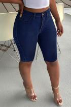 Dark Blue Fashion Casual Solid Basic High Waist Regular Jeans