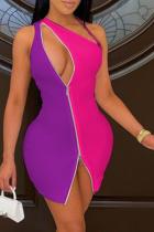Purple Sexy Color Block Hollowed Out One Shoulder Irregular Dress Dresses