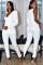 White Work Patchwork Solid Long Sleeve V Neck Jumpsuits