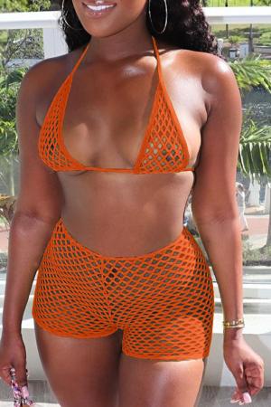 Tangerine Red Sexy Solid Mesh Swimwears
