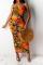 Orange Sexy Print Split Joint Spaghetti Strap Pencil Skirt Dresses