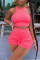 Pink Casual Sportswear Solid Vests O Neck Sleeveless Two Pieces