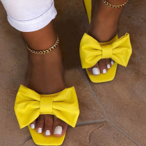 Yellow Fashion Casual Solid Color With Bow Square Comfortable Slippers