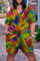 Rainbow Color Fashion Casual Print Basic V Neck Plus Size Romper