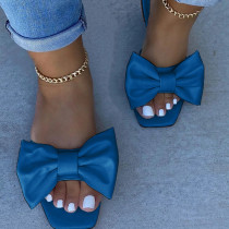 Blue Fashion Casual Solid Color With Bow Square Comfortable Slippers