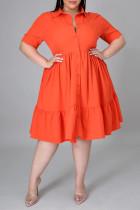 Orange Fashion Casual Plus Size Solid Basic Turndown Collar A Line Dresses