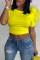 Yellow Fashion Casual Solid Split Joint O Neck T-Shirts