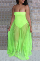 Fluorescent Green Sexy Solid Mesh Strapless Cake Skirt Dress Swimwear
