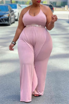 Pink Sexy Casual Solid Backless Without Belt Halter Plus Size Jumpsuits