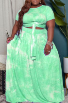 Green Casual Print Tie Dye Bandage O Neck A Line Plus Size Two Pieces