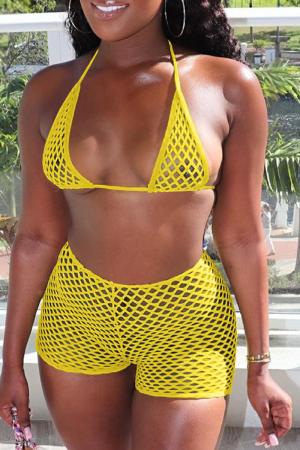 Yellow Sexy Solid Mesh Swimwears