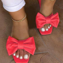 Red Fashion Casual Solid Color With Bow Square Comfortable Slippers