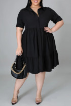 Black Fashion Casual Plus Size Solid Basic Turndown Collar A Line Dresses