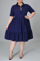 Tibetan Blue Fashion Casual Plus Size Solid Basic Turndown Collar A Line Dresses