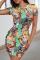 Colour Sexy Print Split Joint O Neck Pencil Skirt Dresses