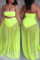 Fluorescent Green Fashion Sexy Solid Split Joint Backless Strapless Sleeveless Two Pieces Swimwears