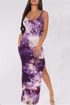 Purple Sexy Print High Opening Spaghetti Strap Irregular Dress Dresses