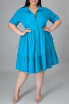 Light Blue Fashion Casual Plus Size Solid Basic Turndown Collar A Line Dresses