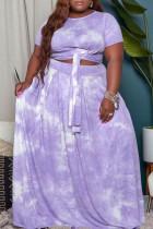Purple Casual Print Tie Dye Bandage O Neck A Line Plus Size Two Pieces
