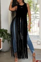 Black Sexy Sleeveless Vest Fringed Top