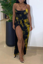 Yellow Fashion Sexy Print Backless Slit Halter Sleeveless Dress